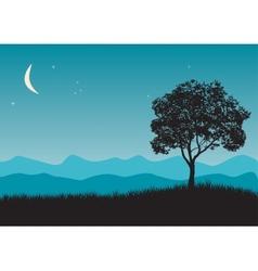 Tree in night scene vector