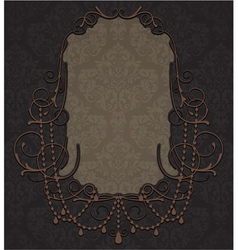 vintage label with damask background vector image vector image