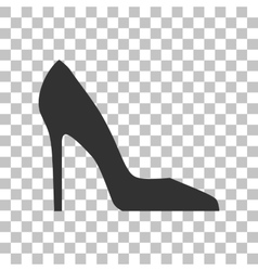 Woman shoe sign Dark gray icon on transparent vector image