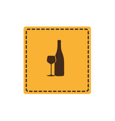 Yellow emblem wine bottle with glass icon vector