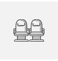 Cinema chairs sketch icon vector