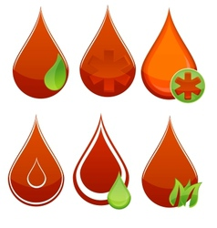 Medic blood drop set red and green color vector