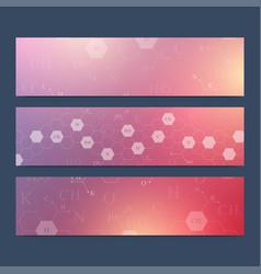 scientific set of banners hexagonal vector image