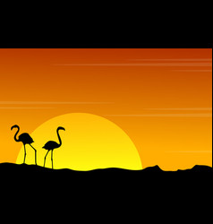 silhouette of flamingo on orange sky landscape vector image