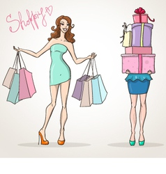 Shopoholic shopping girls fashion sale vector