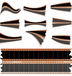 Negative film strips on white vector