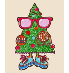 Original marker drawing of animated christmas tree vector