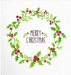 Merry christmas watercolor holly berry wreath card vector