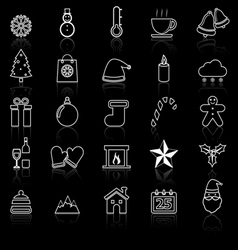 Winter line icons with reflect on black vector