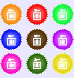 Luggage storage icon sign a set of nine different vector