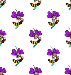 Seamless pattern with bee - 5 vector