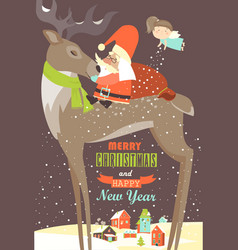 Santa Claus sitting on reindeer vector image