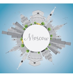 Moscow skyline with gray landmarks vector