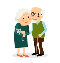 Old couple grandmother and grandfather vector