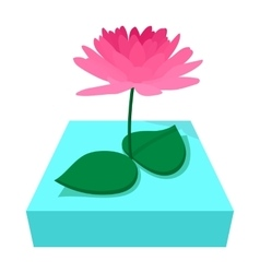 Pink lotus flower icon cartoon style vector image