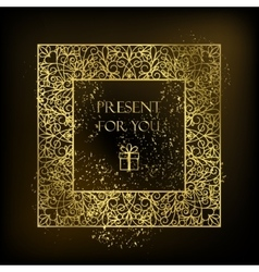 Golden square decor on black background vector