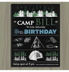 Chalk board invitation for birthday on the camp vector