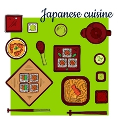 Popular seafood dishes of japanese cuisine sketch vector