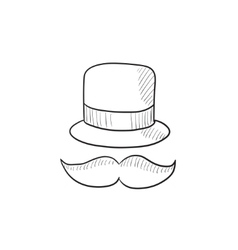 Hat and mustache sketch icon vector