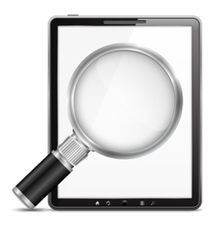 Tablet computer with magnifying glass vector