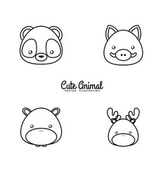 animals drawing face vector image vector image