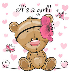 baby shower greeting card with teddy bear girl vector image vector image