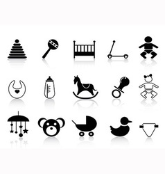black baby icons set vector image vector image