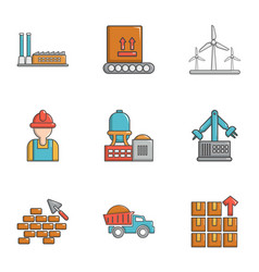 Build industry icons set cartoon style vector