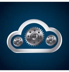 Cloud storage and gears vector