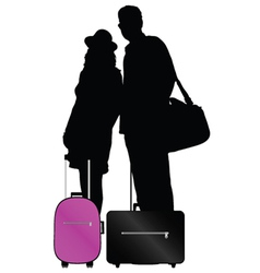couple with bags to travel vector image vector image