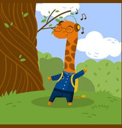 cute little giraffe student in school uniform vector image