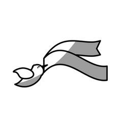 Dove ribbon decorative symbol image vector