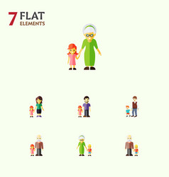 Flat icon people set of mother grandchild boys vector