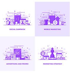 flat line purple designed concepts 4 vector image vector image