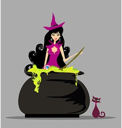 Halloween witch preparing potion vector image vector image
