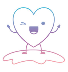 Heart character kawaii wink expression in degraded vector