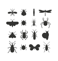Insect icon black silhouette flat set isolated on vector
