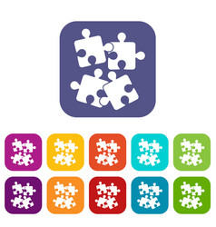 Jigsaw puzzles icons set vector