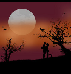 lovers on beautiful sunset vector image vector image