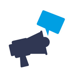Megaphone with message icon vector