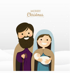 merry christmas greeting with holy family vector image vector image