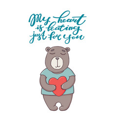 My heart is beating just for you text and bear vector