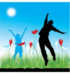 People on nature grass spring vector