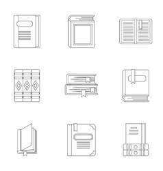 Reading icons set outline style vector