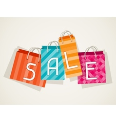 Sale poster with shopping bags in flat design vector image