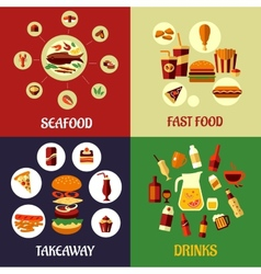 Seafood fast food and drinks flat icons vector image vector image