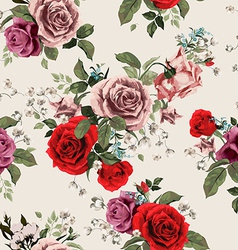 Seamless floral pattern with red and pink roses on vector image vector image