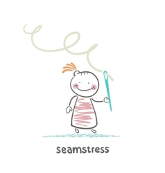 seamstress holding thread and needle vector image vector image