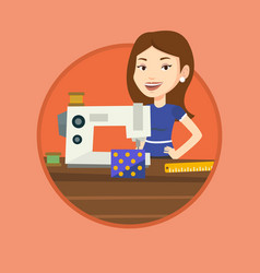 seamstress using sewing machine at workshop vector image