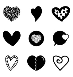 Set collection of black heart icons vector